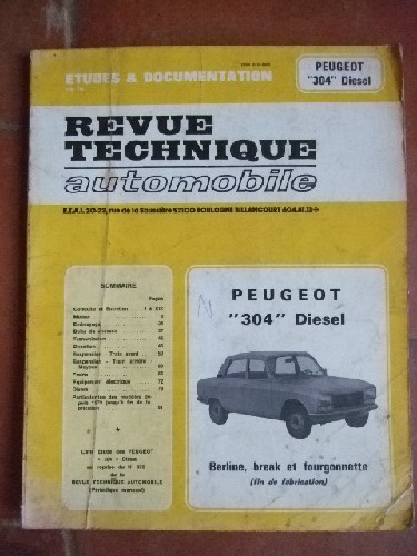 Peugeot 304 Diesel. Berline, break, fourgon (fin de fabrication)